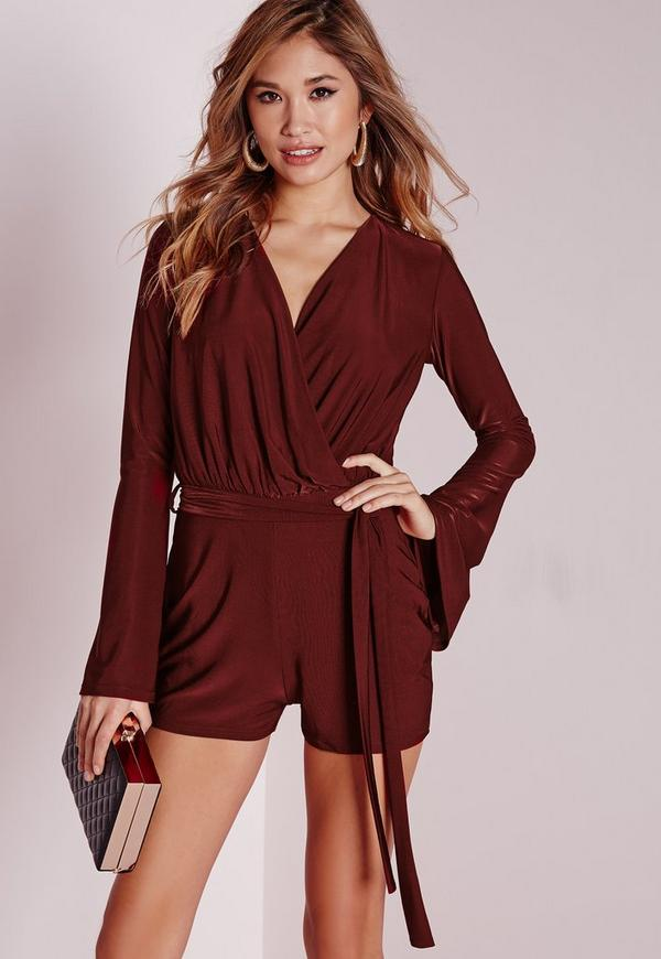 Slinky Wrap Belted Playsuit Berry