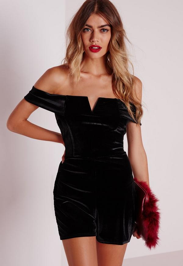 Velvet Bardot Playsuit Black