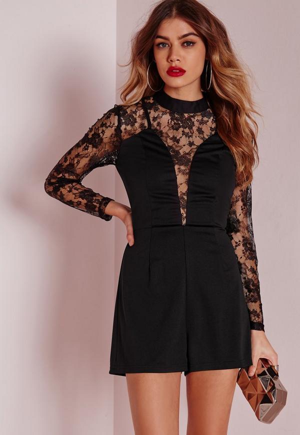 High Neck Lace Detail Playsuit Black
