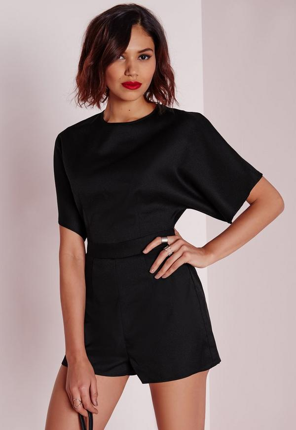 Open Back D-ring Detail Playsuit Black