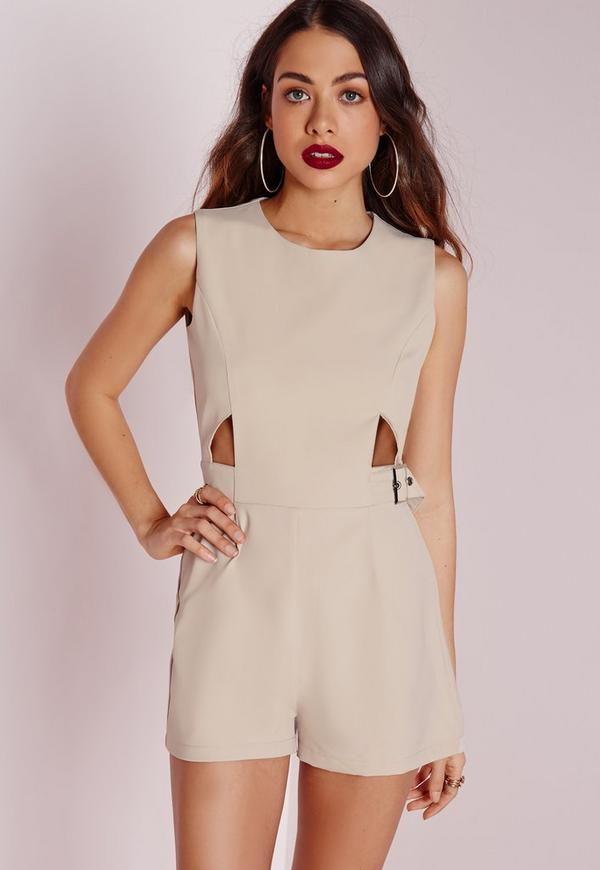 Cut Out Buckle Detail Playsuit Stone
