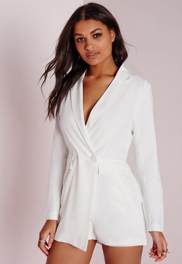 Tuxedo Style Long Sleeve Playsuit White