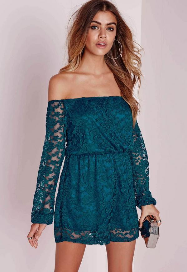 Lace Long Sleeve Bardot Playsuit Teal