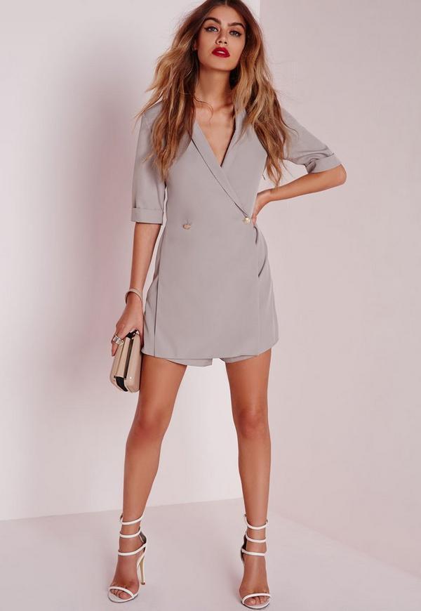 Blazer Style Playsuit Grey
