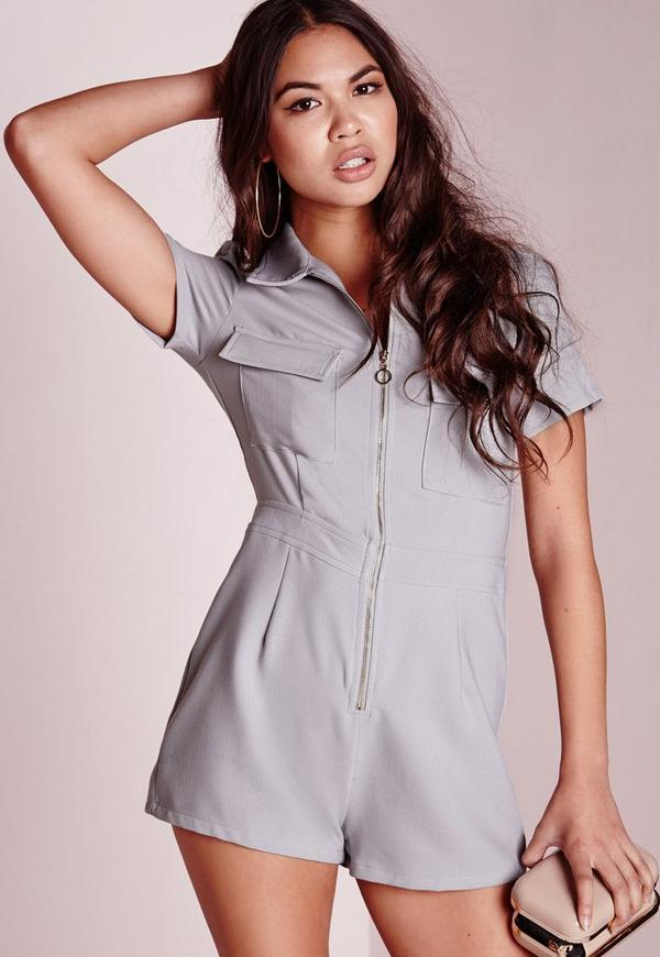 Utility Style Zip Front Playsuit Grey