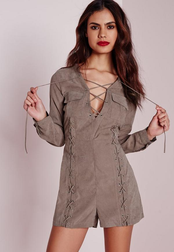 lace up utility style playsuit