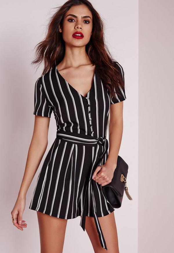 Stripe Button Up Playsuit Monochrome