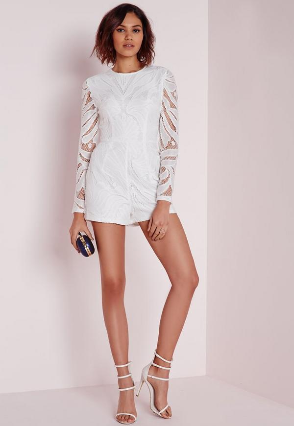 Long Sleeve Lace Romper White