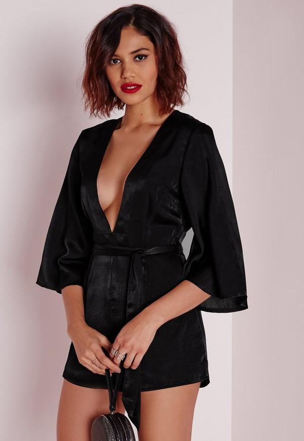 Belted Kimono Style Playsuit Black