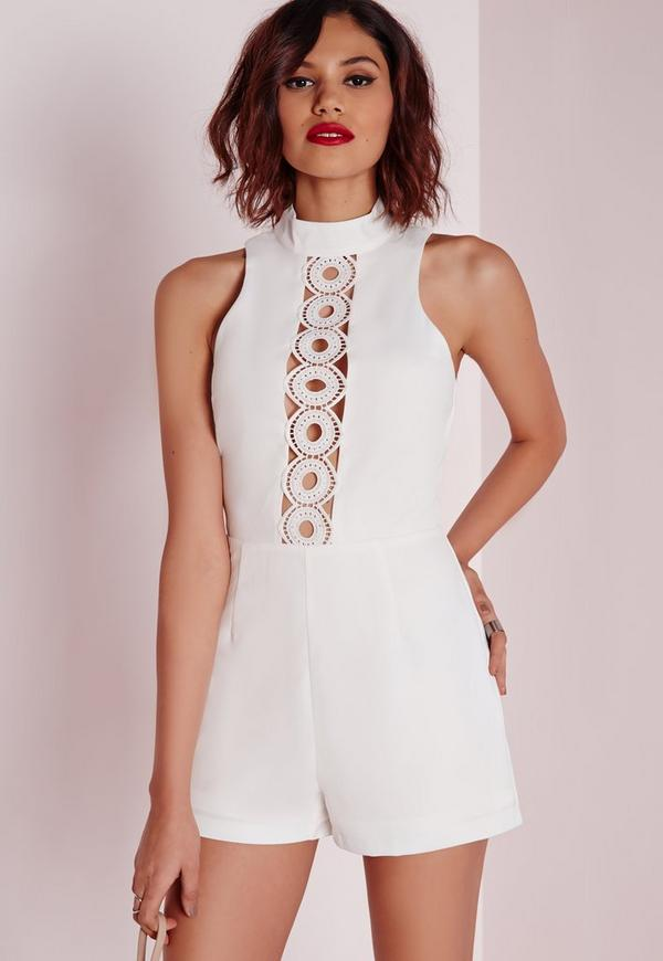 Circle Lace Panel High Neck Playsuit White