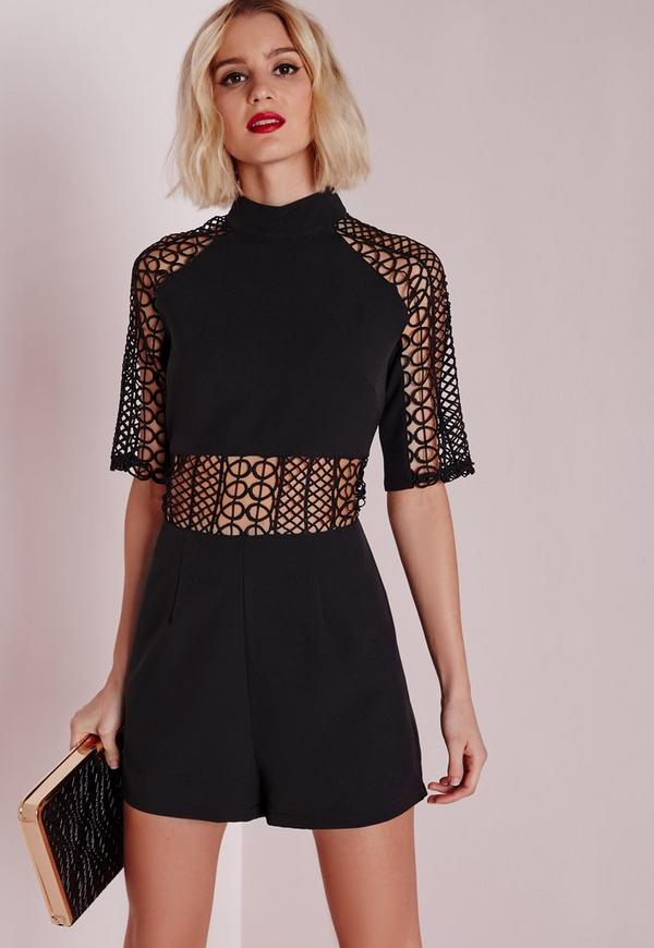 Geo Lace Insert High Neck Playsuit Black