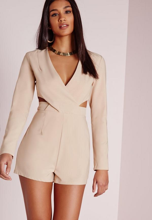 Cut Out Waist Wrap Playsuit Stone