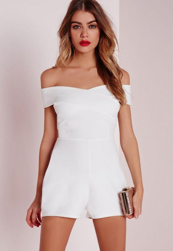 Cross Front Bardot Playsuit White