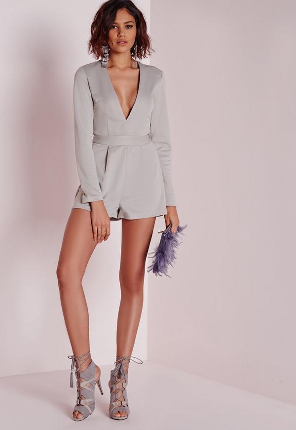 Long Sleeve Plunge Playsuit Grey