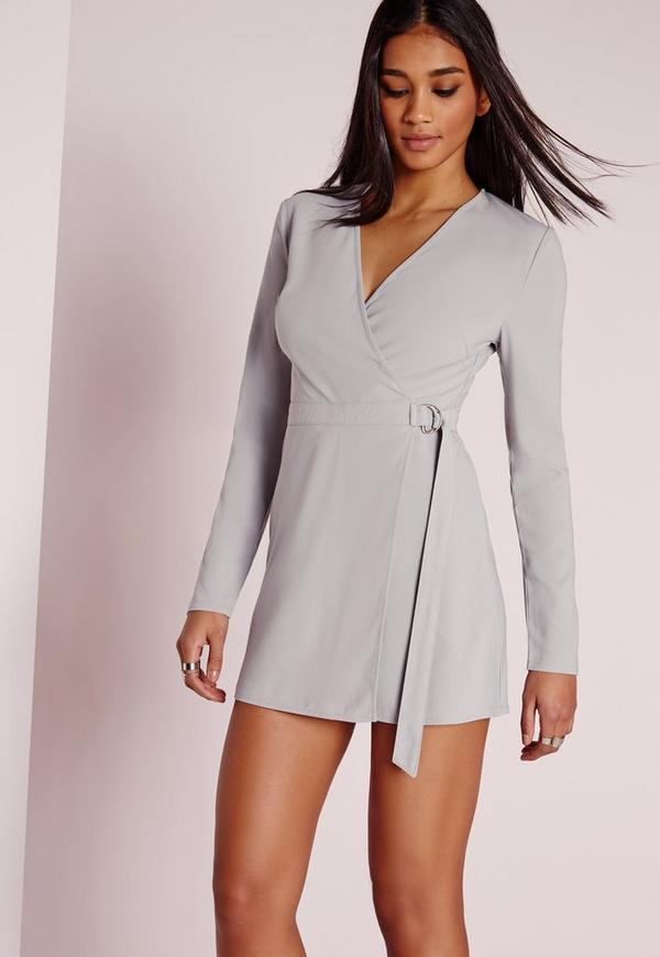 Long Sleeve Skort D-Ring Playsuit Grey