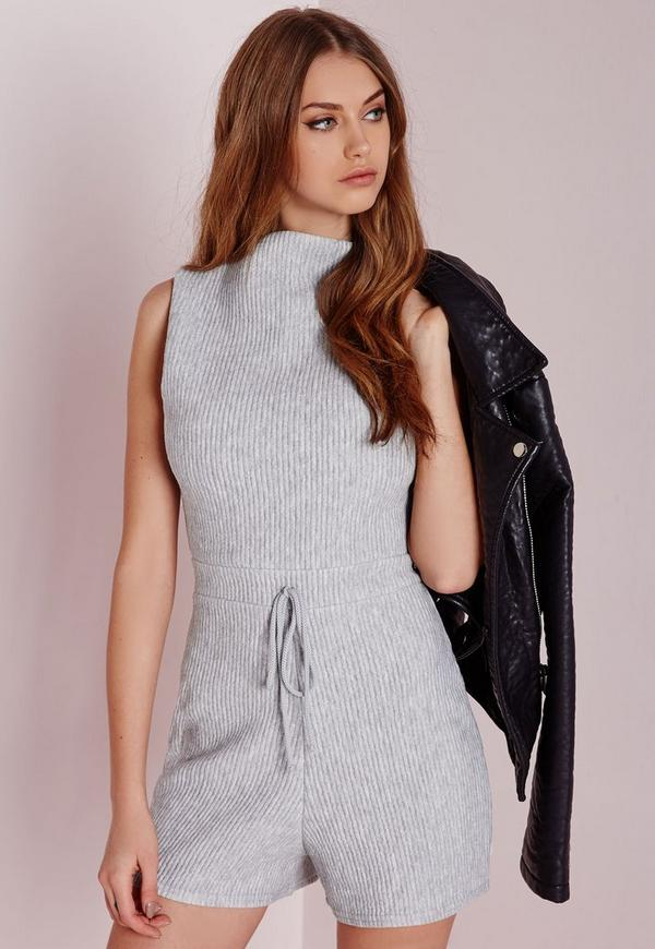 Ribbed Funnel Neck Playsuit Grey