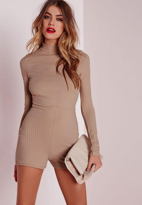 Ribbed Longsleeved Playsuit Camel