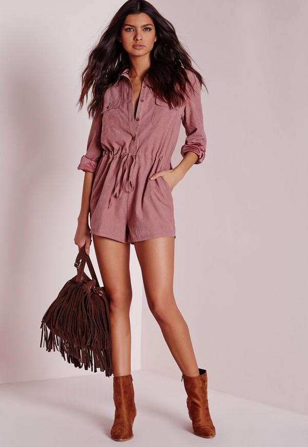 Peached Long Sleeve Shirt Playsuit Pink