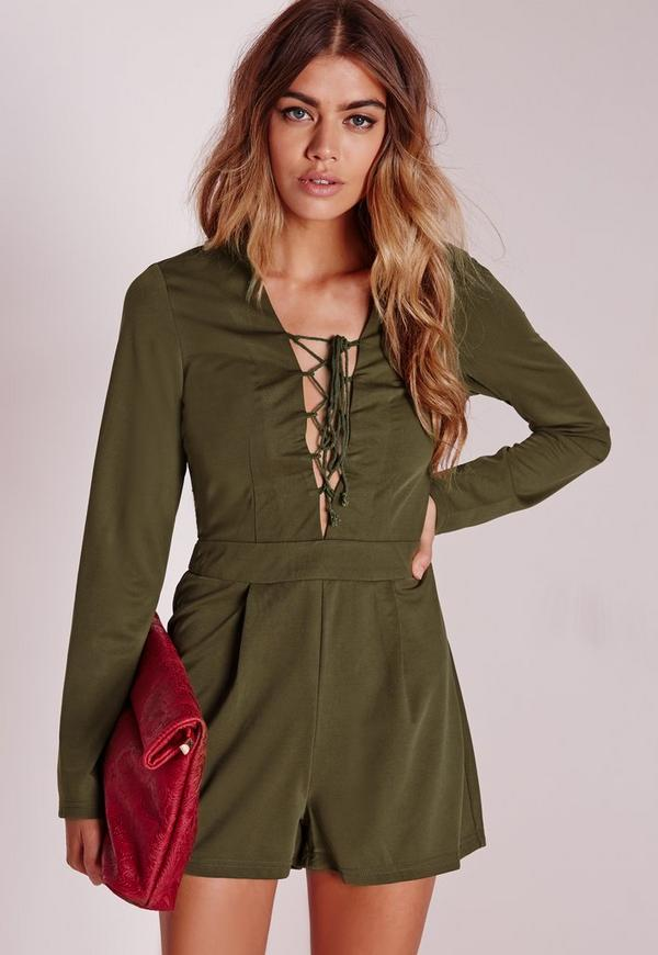 Long Sleeve Lace Up Front Playsuit Khaki