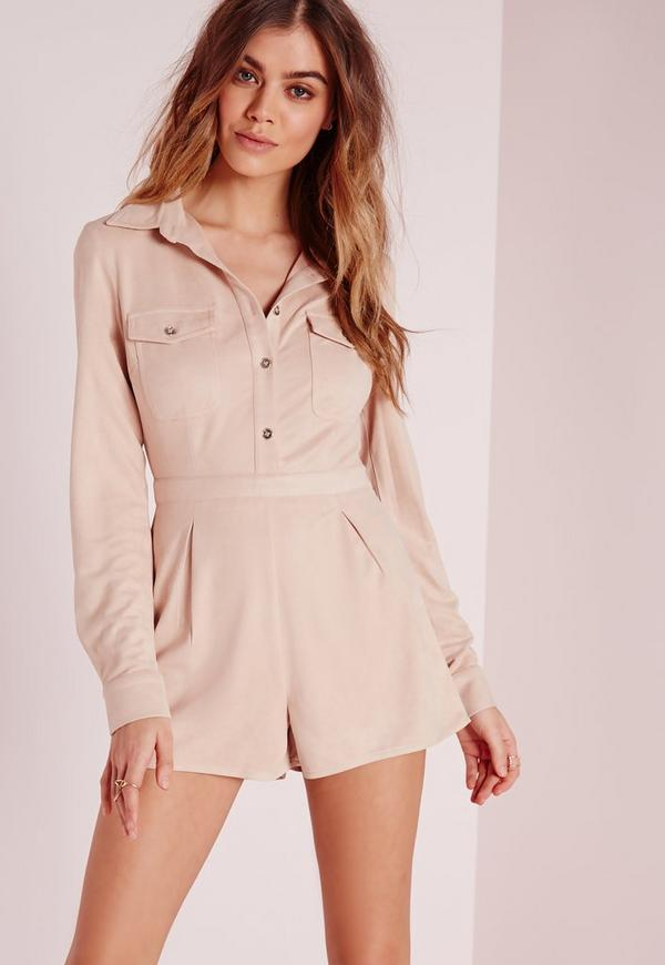Suede Pocket Front Playsuit Nude