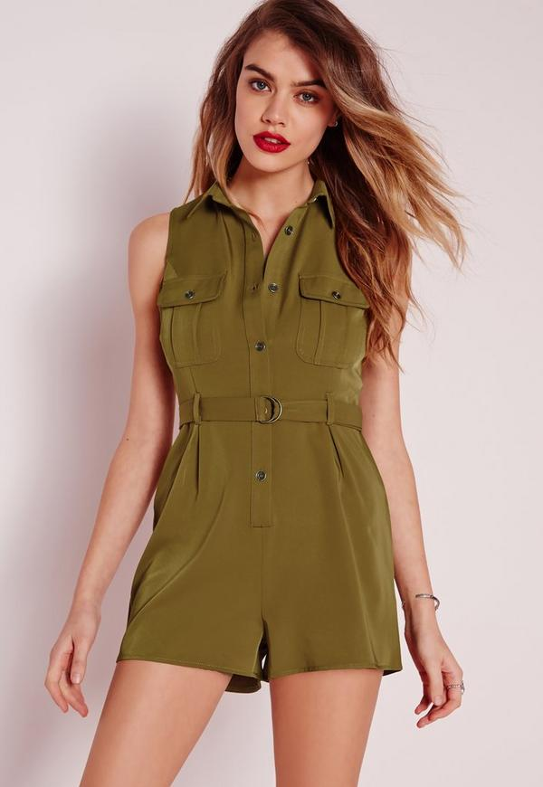 Pocket Front D-Ring Pocket Playsuit Khaki
