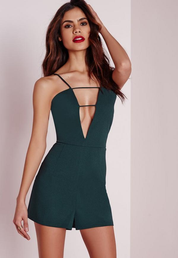 Strappy Plunge Playsuit Teal