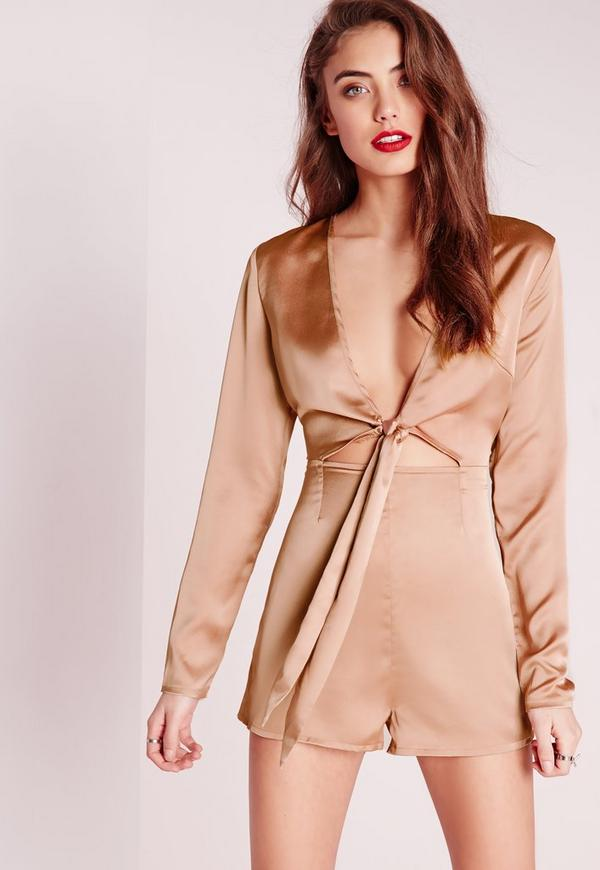 Silky Long Sleeve Tie Front Romper Nude  Missguided-6491