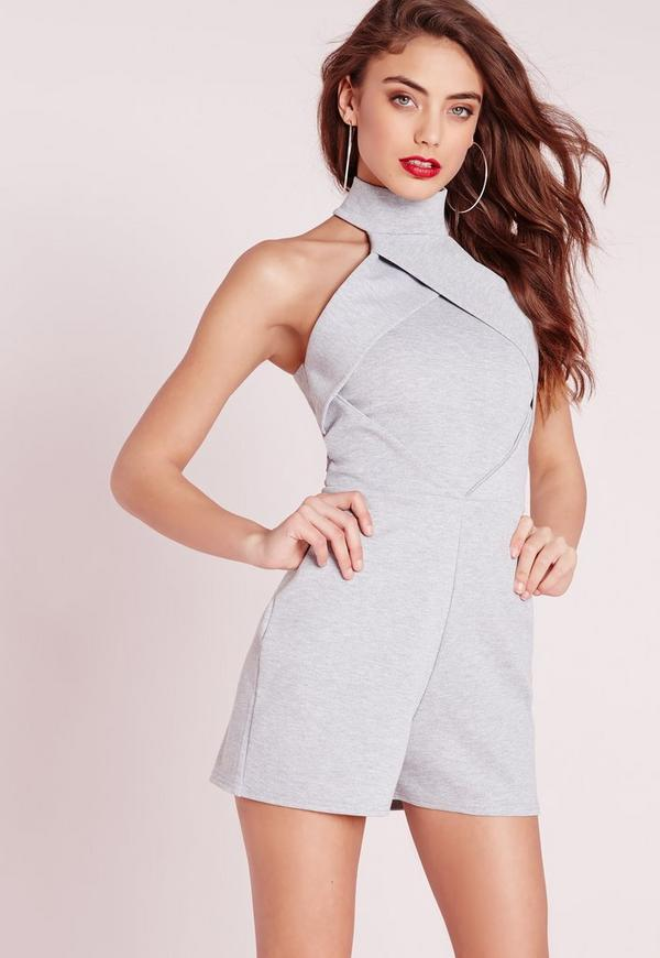 High Neck Origami Playsuit Grey