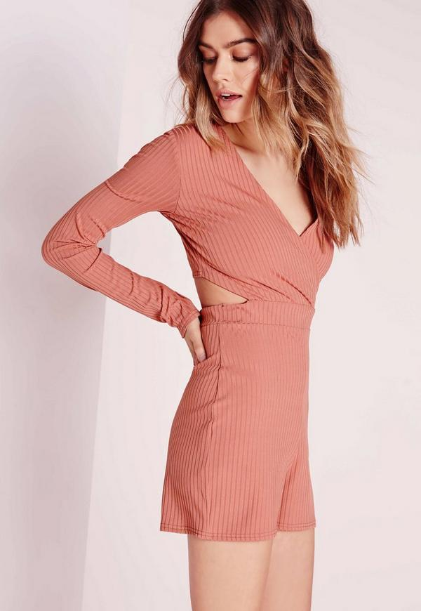 Ribbed Wrap Front Playsuit Pink