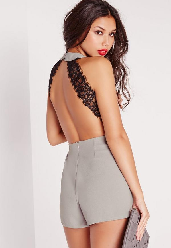 Open Back Lace Insert Playsuit Grey