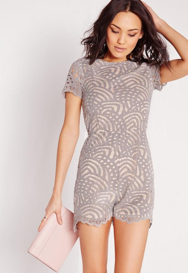 Lace Short Sleeve Playsuit Grey
