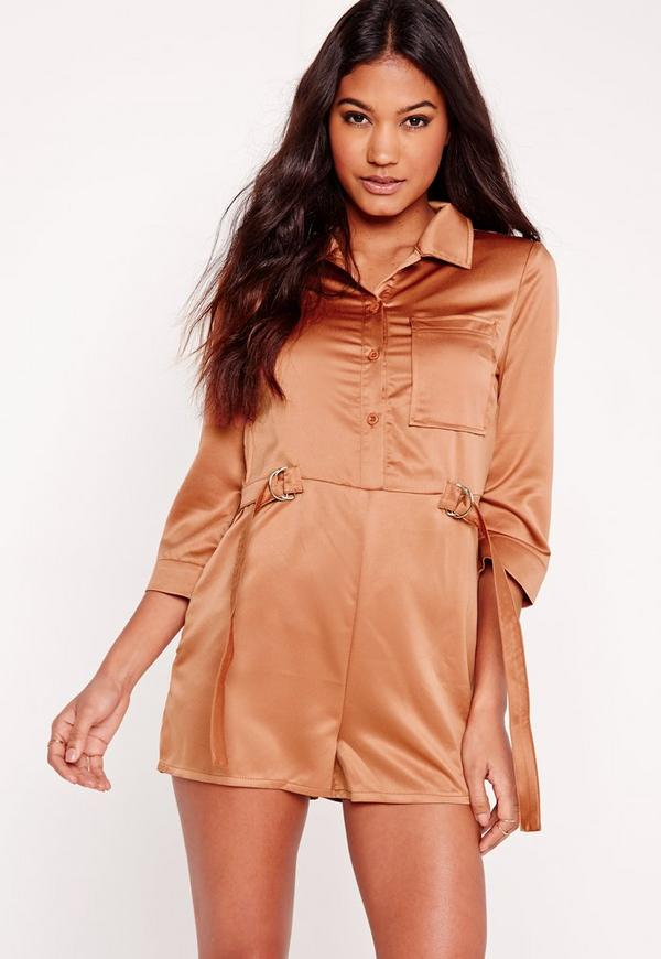 Silky D-ring Shirt Playsuit Tan