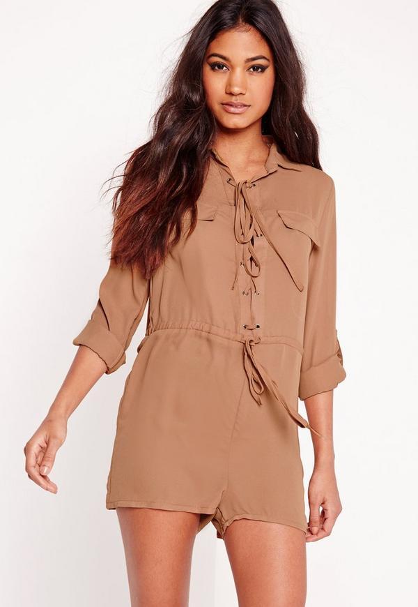 Crepe Lace Up Shirt Playsuit Camel