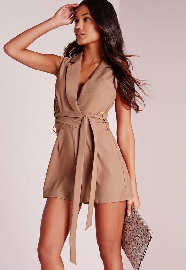 Tux D-Ring Wrap Belt Playsuit Taupe