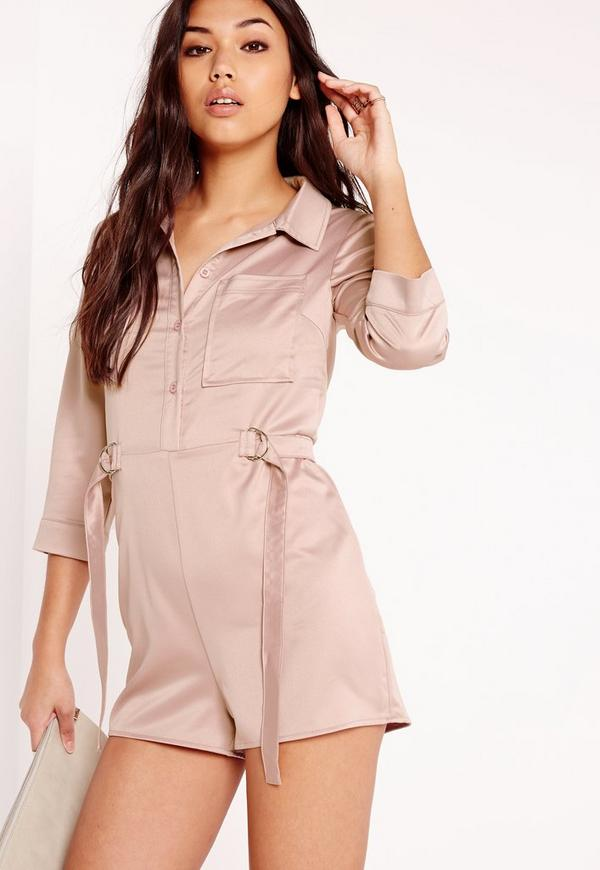 Silky D-Ring Shirt Playsuit Pink