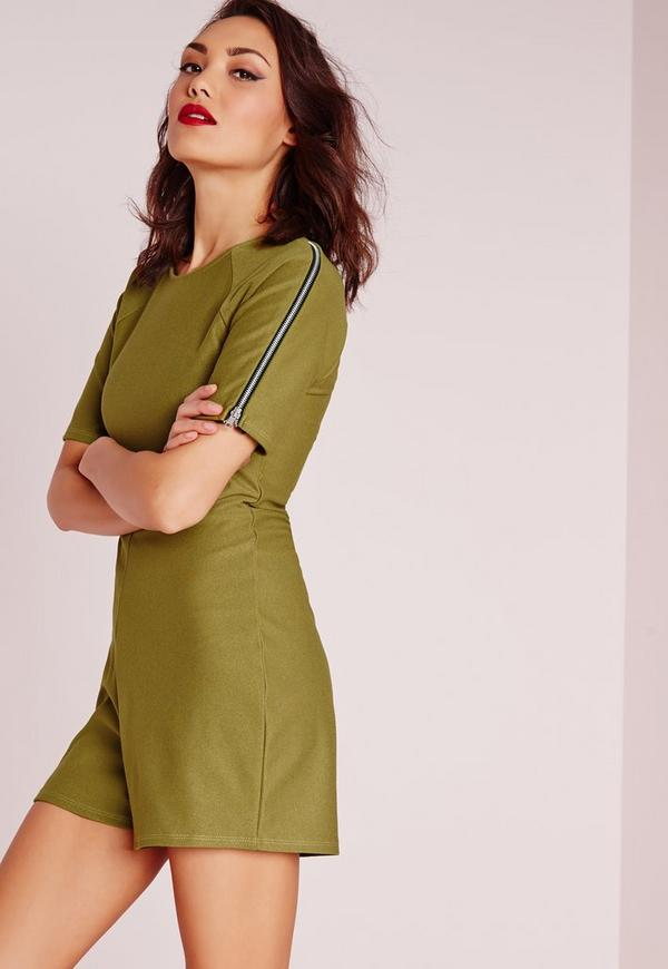 Zip Sleeve Playsuit Olive