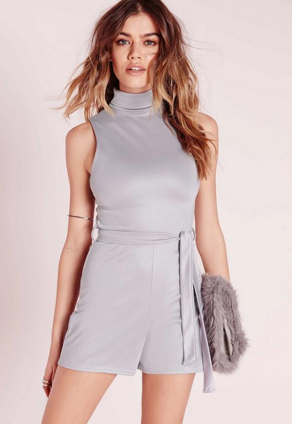 Tie Waist Jersey Sleeveless Playsuit Grey