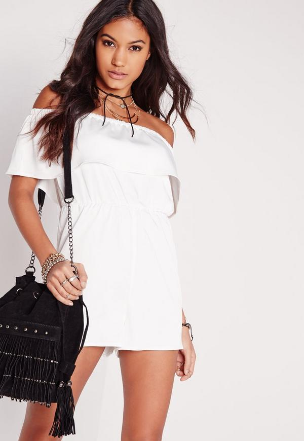 Crepe Bardot Playsuit White