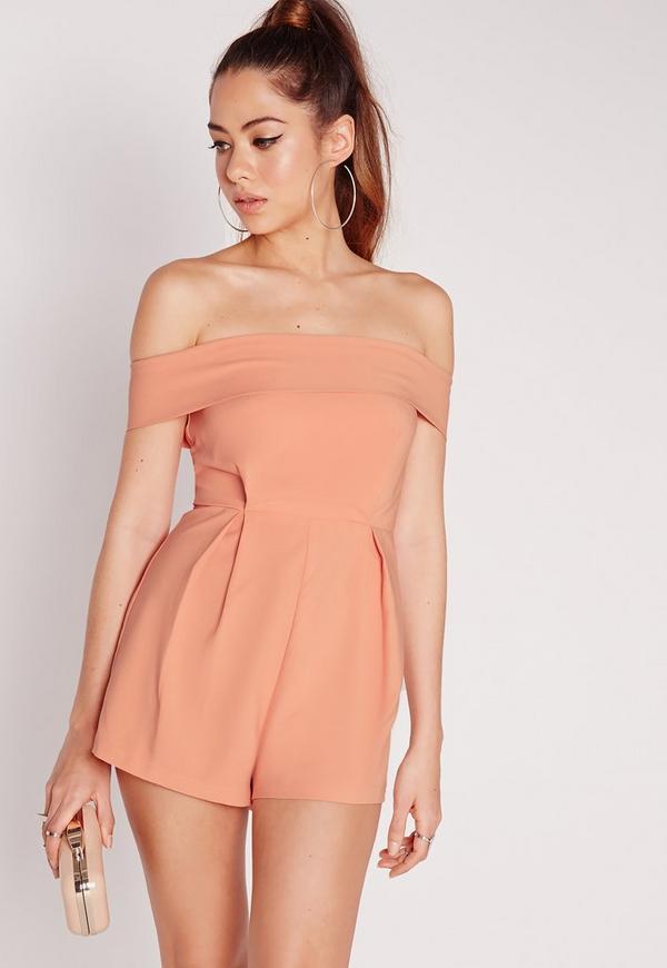 Satin Bardot Playsuit Pink