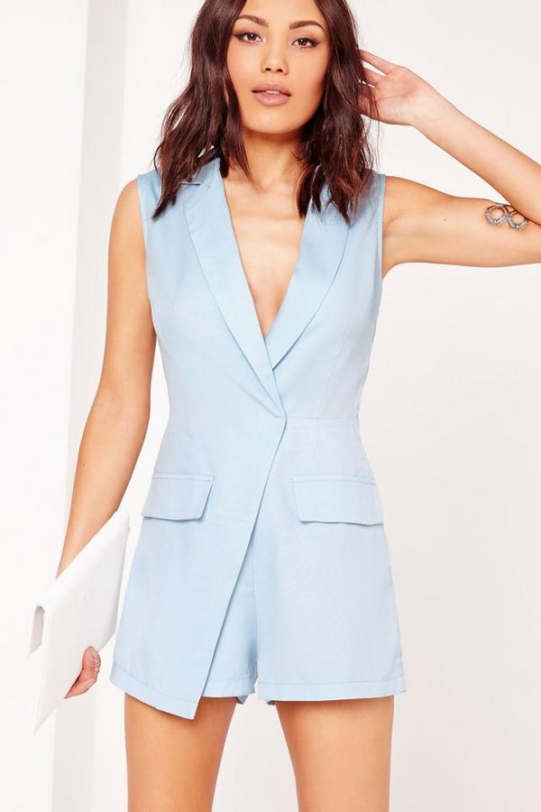 Sleeveless Blazer Style Playsuit Blue