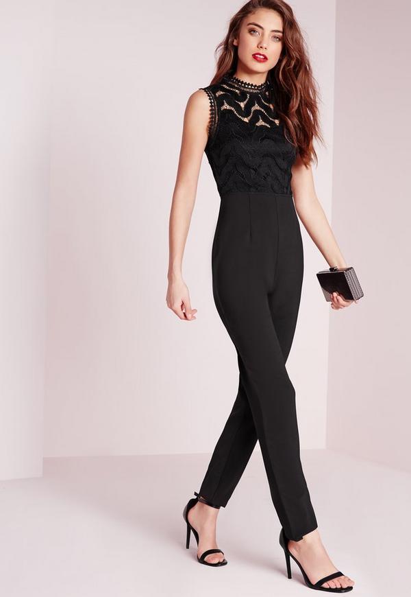 Lace Sleeveless Jumpsuit Black