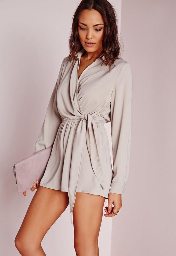Wrap Front Shirt Playsuit Stone