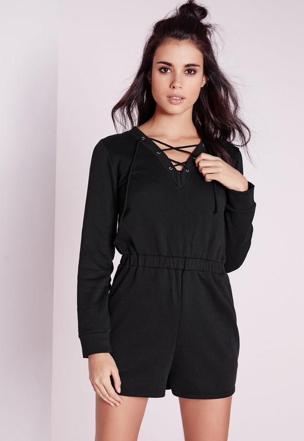 Sweater Lace Up Playsuit Black
