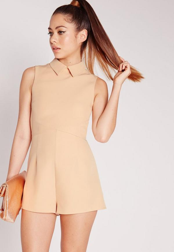 Crepe Collared Sleeveless Playsuit Nude