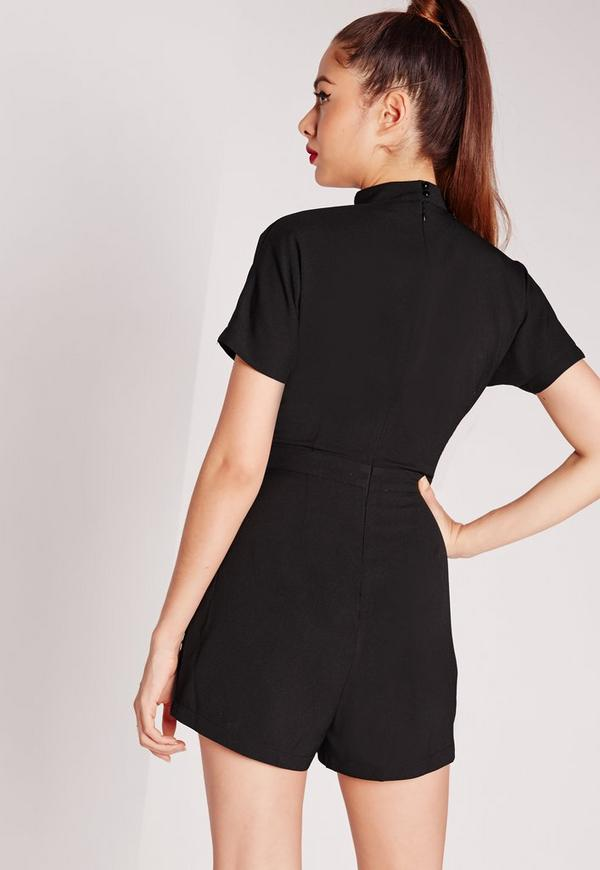 Shopping V Neck Belt Plain Short Sleeve Playsuits online with high-quality and best prices Jumpsuits & Playsuits at Luvyle.