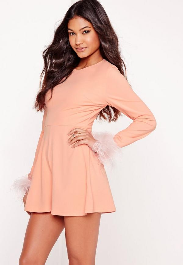 Feather Cuff Long Sleeve Playsuit Nude