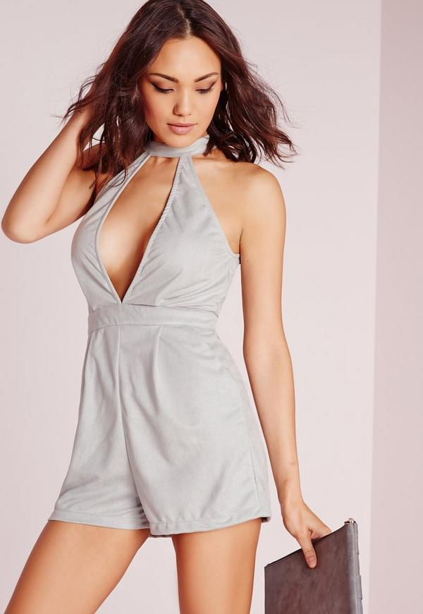 faux suede choker split front playsuit grey