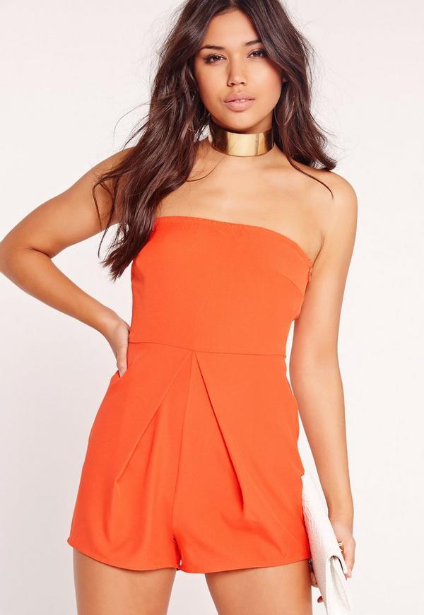 Bandeau Pleat Front Playsuit Orange