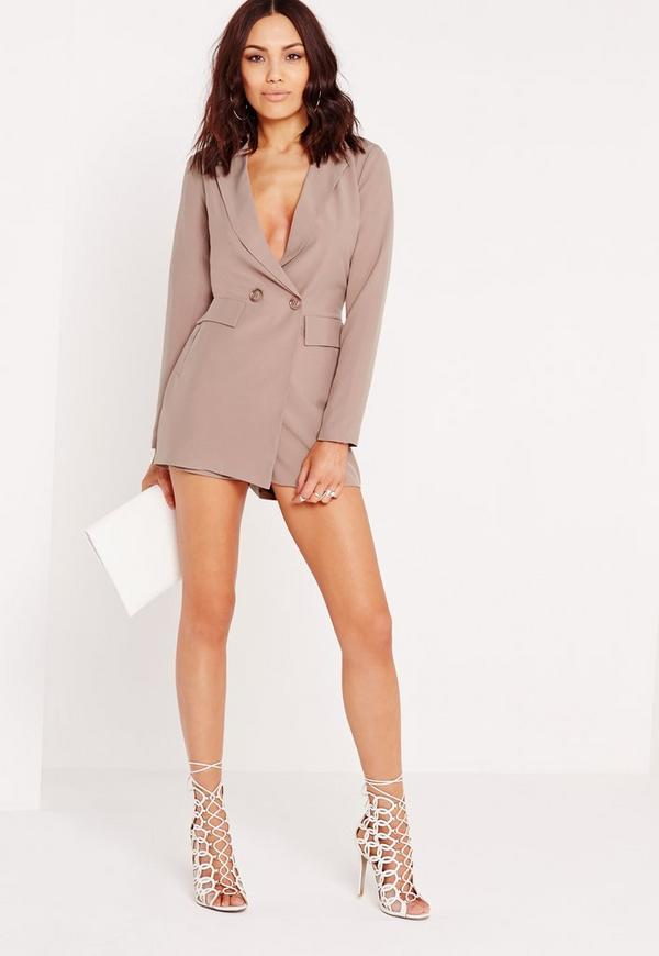 Tuxedo Style Long Sleeve Playsuit Nude