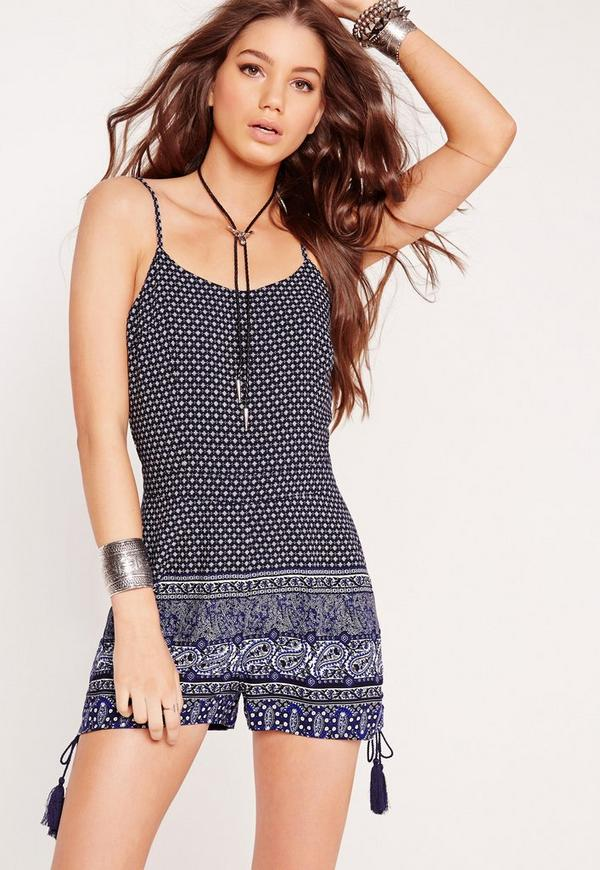 Strappy Pom Pom Printed Playsuit Navy